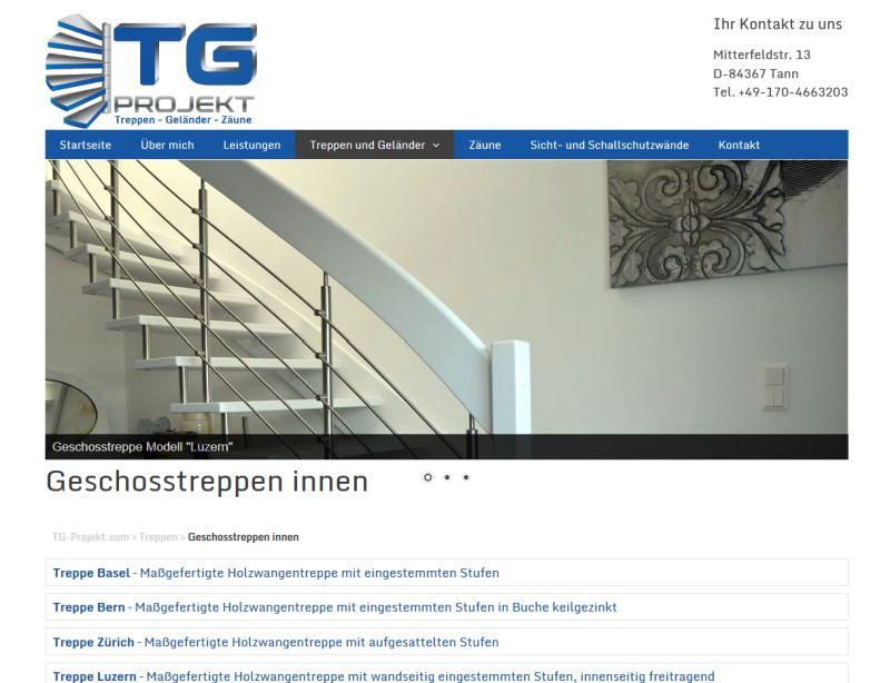 Webauftritt von TG-Projekt realisiert